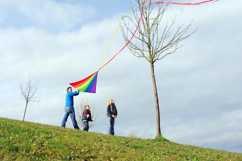 ein Vater mit zwei Kindern, der den Flugdrachen wieder vom Baum herunterholt